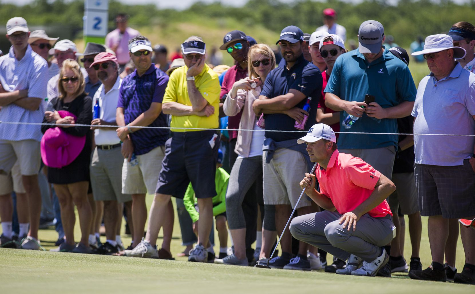 Jordan Spieth lined up a shot on the first green during round 4 of the AT&T Byron Nelson golf tournament 2019 at Trinity Forest Golf Club in Dallas. (Ashley Landis/The Dallas Morning News)