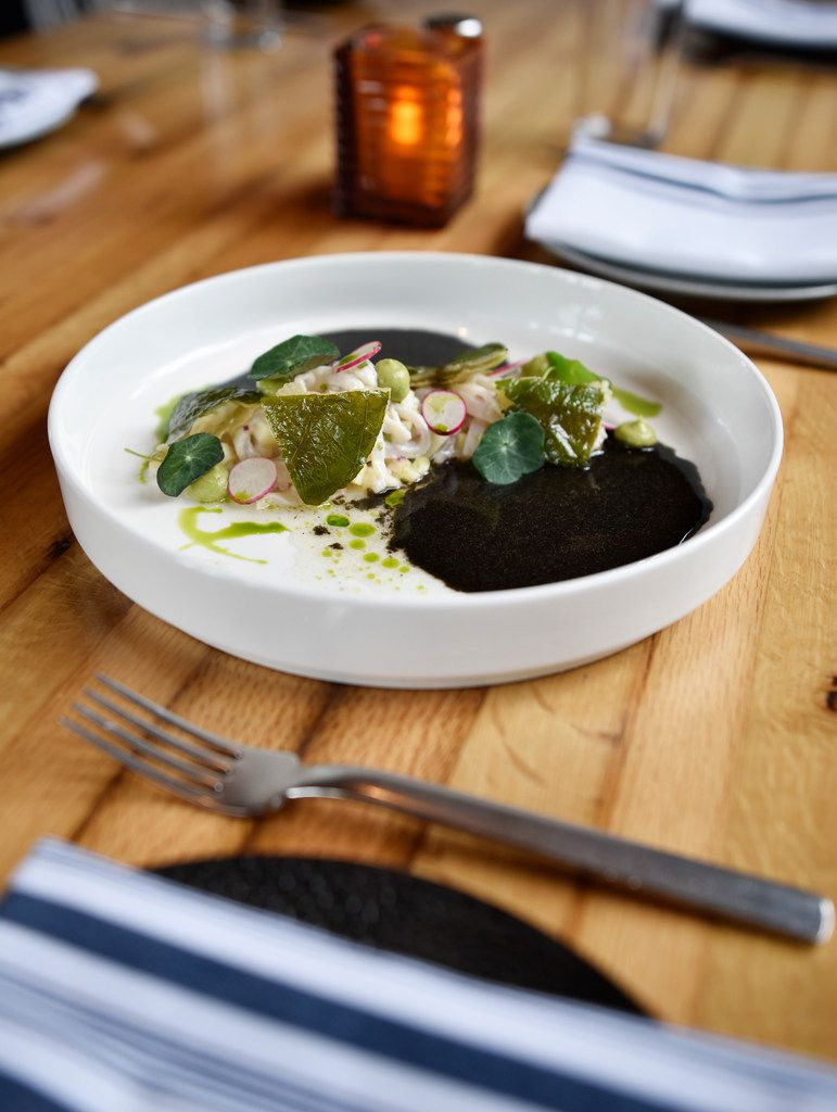 A dish of Black Habanero Ash Ceviche with Hoja Santa Tostadas from Jalisco Norte in Dallas.