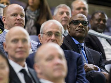 Former University of Iowa football player Malcolm Christie (right) sits among other former players during a celebration of life service for Hayden Fry, former head football coach at UNT, SMU and University of Iowa, on Saturday, January 25, 2020 at The Ford Center at The Star in Frisco. (Ashley Landis/The Dallas Morning News)