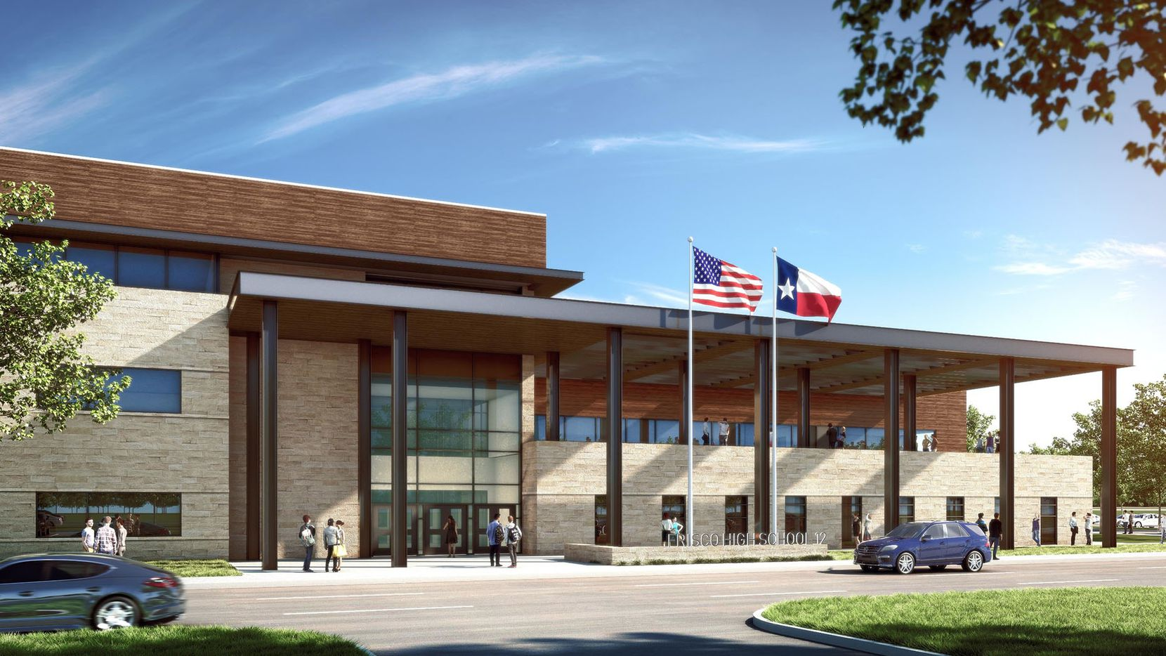 Frisco ISD's 12th high school, planned for northeast of Teel Parkway and Dakotah Road, is pictured in this rendering.