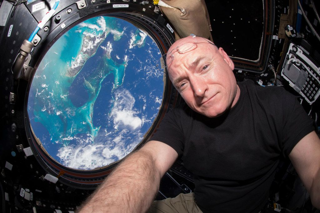On July 12, 2015, Scott Kelly took a selfie inside the Cupola, a special module of the International Space Station that provides a 360-degree viewing of the Earth and the station.
