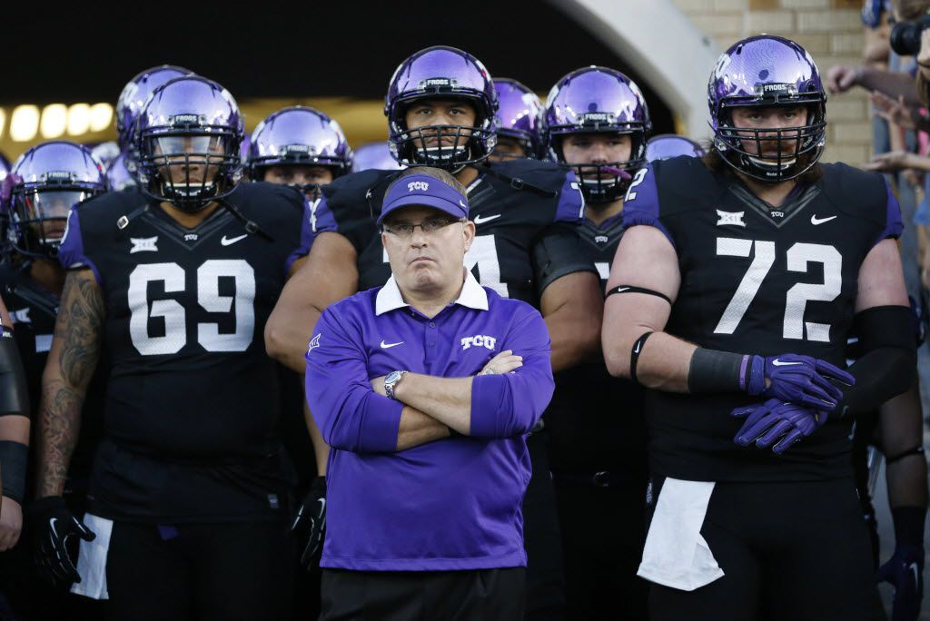 TCU Horned Frogs head coach Gary Patterson waits to take the field with the team before playing West Virginia Mountaineers at Amon G. Carter Stadium in Fort Worth, on Thursday, October 29, 2015. (Vernon Bryant/The Dallas Morning News)