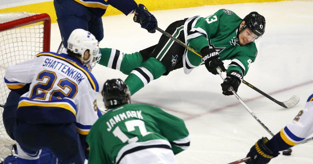 Dallas Stars right wing Valeri Nichushkin (43) takes a shot on St. Louis Blues goalie Brian Elliott (1) as he's falling to the ice in the third period during Game 5 of the Western Conference Semifinals at the American Airlines Center in Dallas, Saturday, May 7, 2016. The Stars lost, 4-1. (Tom Fox/The Dallas Morning News)