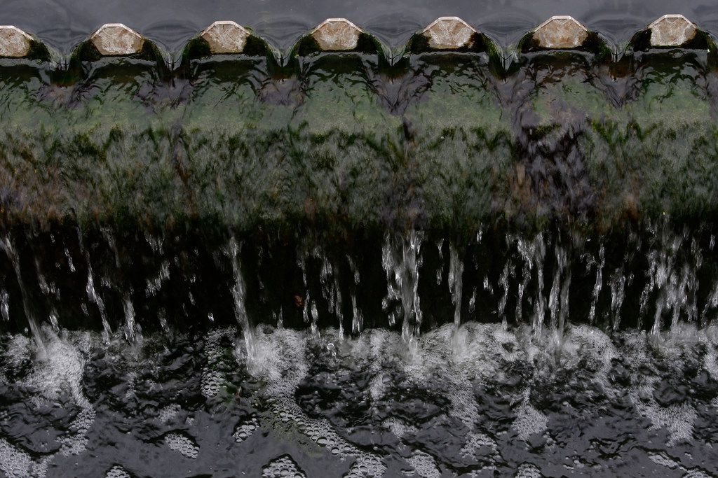 The edge of the final clarifier which removes the remaining suspended solids at the Central Waste Water Treatment Plant in Dallas on Feb. 16, 2018.  (Nathan Hunsinger/The Dallas Morning News)