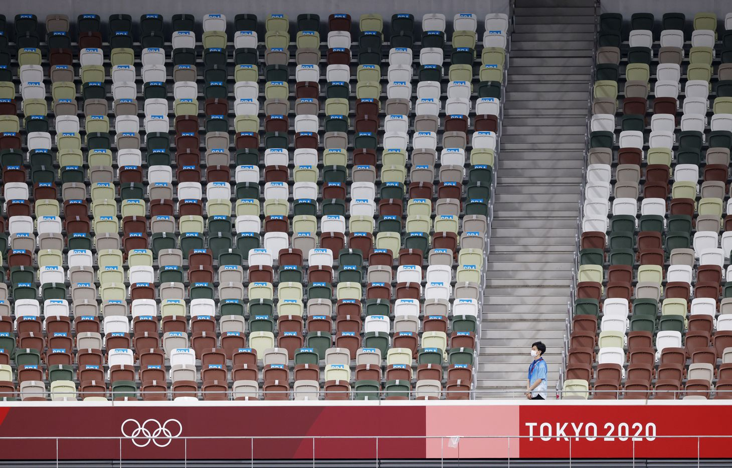 Empty seats in a spectator less track & field event during the postponed 2020 Tokyo Olympics at Olympic Stadium, on Sunday, August 1, 2021, in Tokyo, Japan. (Vernon Bryant/The Dallas Morning News)