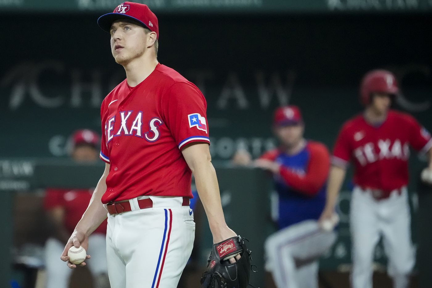 Texas Rangers relief pitcher Josh Sborz reacts after giving up a bases loaded walk during the tenth inning against the Minnesota Twins at Globe Life Field on Friday, June 18, 2021.