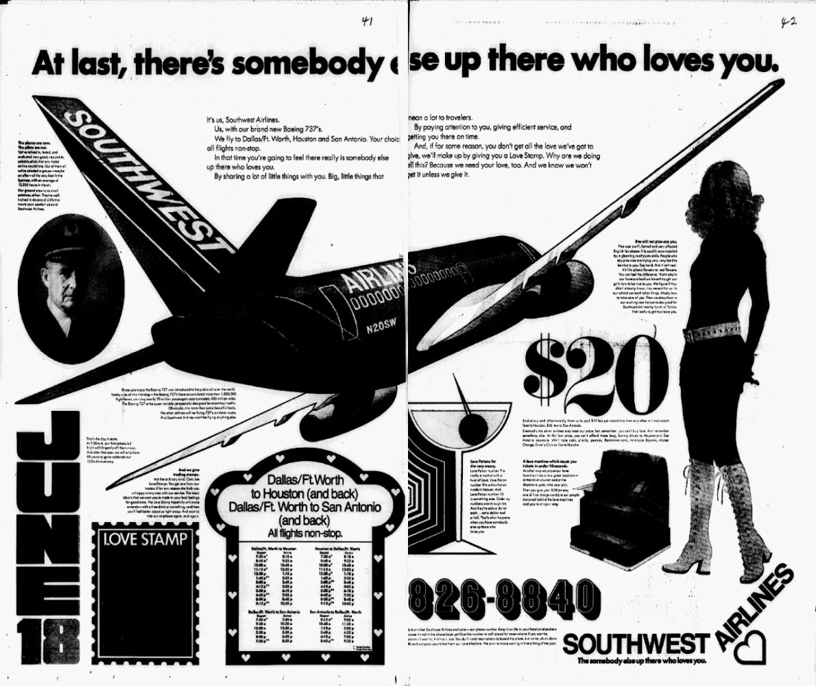 A Southwest Airlines ad ran in The Dallas Morning News on the airline's first day of service on June 18, 1971.