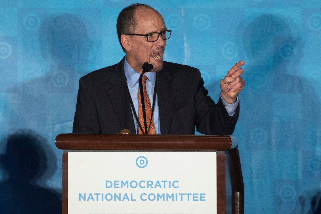 FILE - In this Feb. 25, 2017 file photo, Tom Perez, speaks in Atlanta. As Democrats look to reverse Republicans' monopoly control in Washington and the GOP advantage in state capitals, the party is still looking for a crisp, simple message for voters.