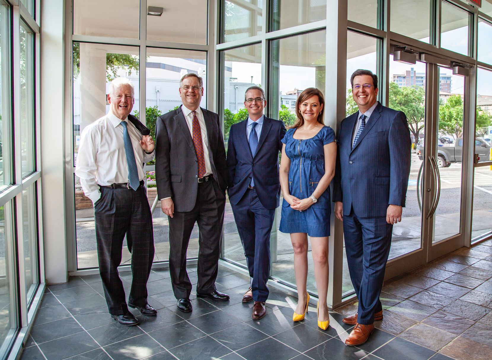 Larry Good, left, is retiring from Dallas architecture firm GFF. His partner Duncan Fulton, to his right, will be the new chairman. Evan Beattie (center) is the new president and Allison Hubbard and Rick Myers will be co-chief operating officers.