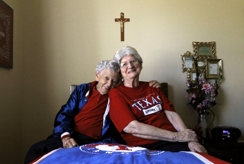 Sister Frances Evans (left), and her best friend and baseball buddy Sister Maggie Hession in  Fort Worth in October 2011.