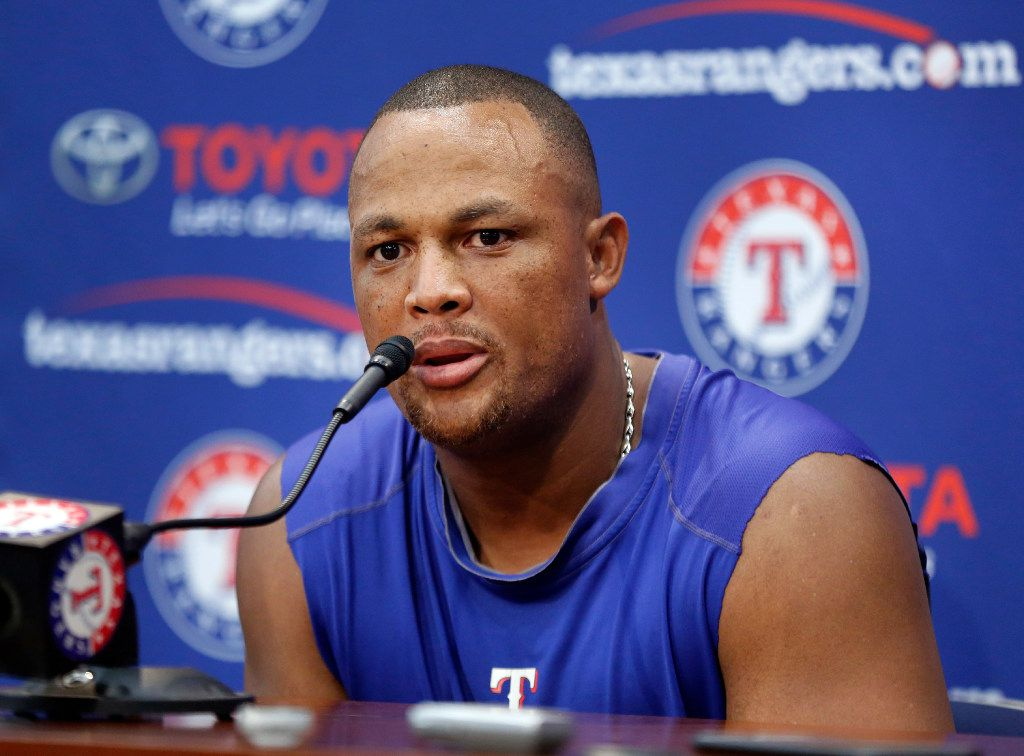 Texas Rangers Adrian Beltre speaks during a press conference following the game in which he made his 3,000th career hit against the Baltimore Orioles at Globe Life Park in Arlington, Sunday, July 30, 2017. (Tom Fox/The Dallas Morning News)