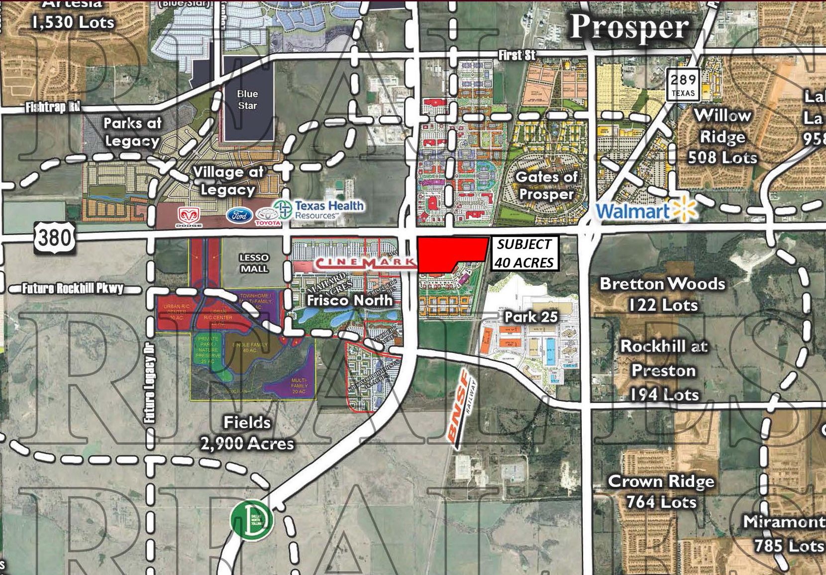 The property sold is at the southeast corner of the tollway and U.S. 380, across from the new Cinemark.