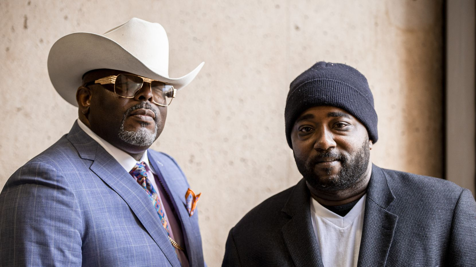 Bishop Omar Jahwar (left) and Antong Lucky, a former gang member, after presenting their Original Gangsters United crime prevention program to the Public Safety Committee at Dallas City Hall on Monday.