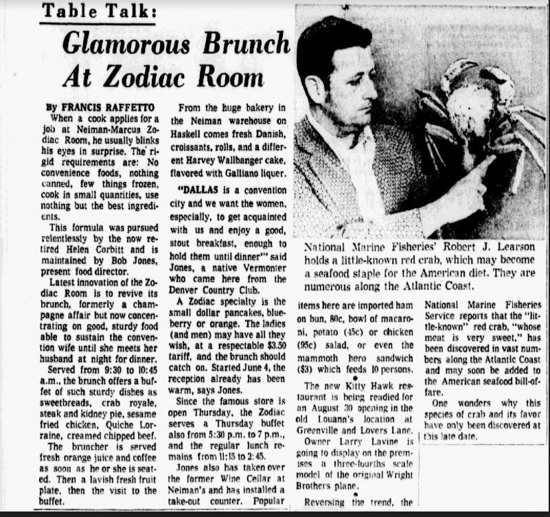 "This article was published in The Dallas Morning News on June 24, 1973. It describes the kitchen's strict requirements: ""No convenience foods, nothing canned, few things frozen, cook in small quantities, use nothing but the best ingredients."""