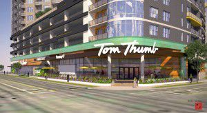 Tom Thumb will occupy the entire ground floor of the 10-story apartment tower. (Greystar)