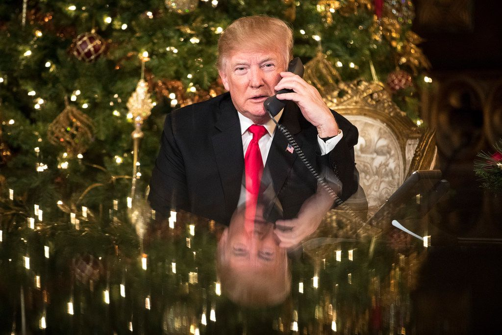 President Donald Trump made phone calls to children around the nation on Christmas Eve from Mar-a-Lago in Palm Beach, Fla. (Tom Brenner/The New York Times)