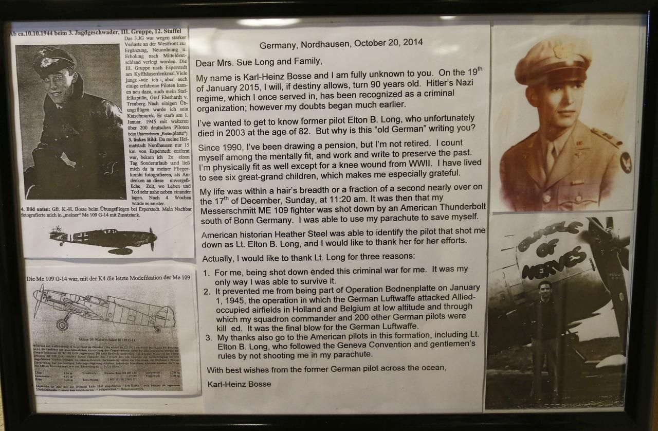 With the help of World War II historian Heather Steele, German Luftwaffe pilot Karl-Heinz Bosse's Messerschmitt tracked down the American pilot who shot him down in 1944. Now 90-year-old, Bosse wrote in German in a letter to Sue Long last October.