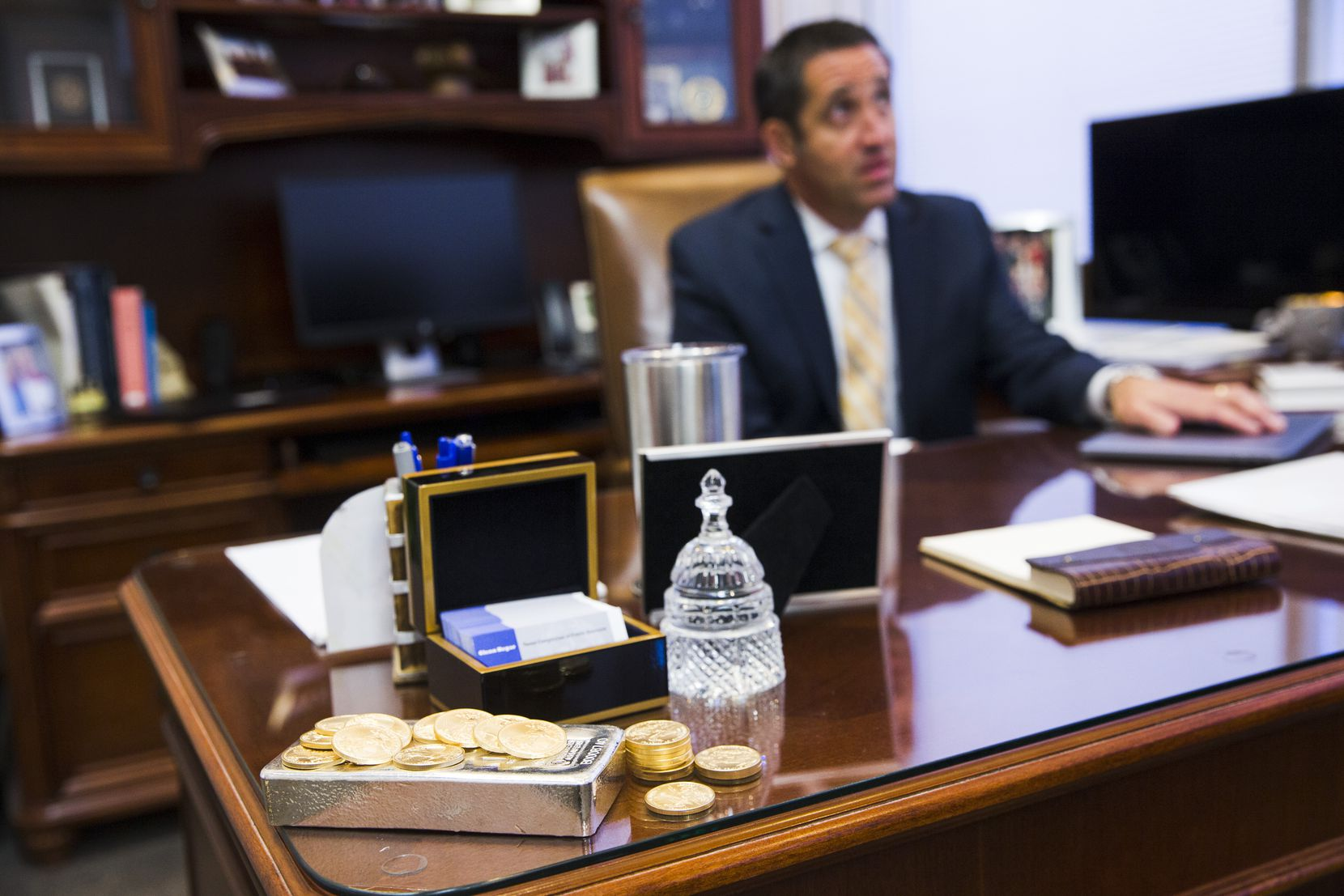 """""""Economic forecasts in the second quarter moved from projections of modest growth to modest decline and then to record-breaking contraction — all in a matter of weeks earlier this spring,"""" Texas Comptroller Glenn Hegar, shown in a 2018 file photo, told key lawmakers on Monday."""