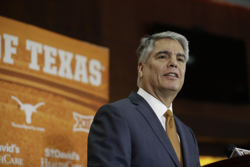 FILE - Texas president Greg Fenves speaks at a news conference where he introduced Chris Del Conte as new athletic director for the University of Texas on Monday, Dec. 11, 2017, in Austin.