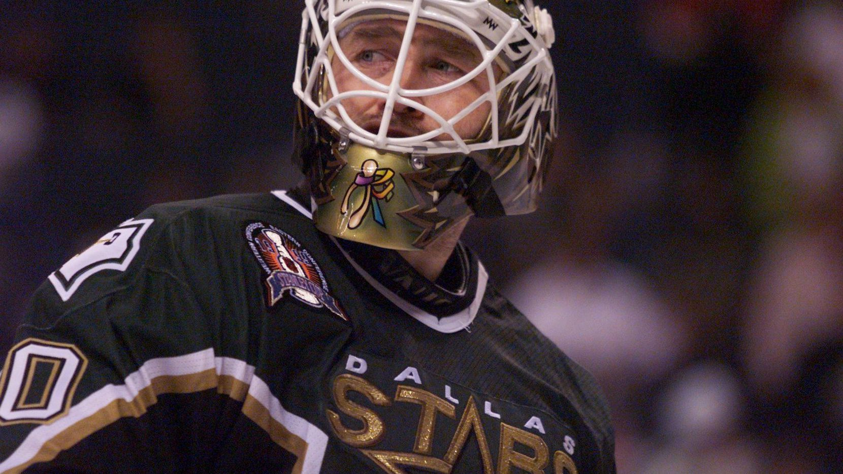 The Stars' Ed Belfour is seen during the second period of Game 6 of the 1999 Stanley Cup Finals at Marine Midland Arena in Buffalo.