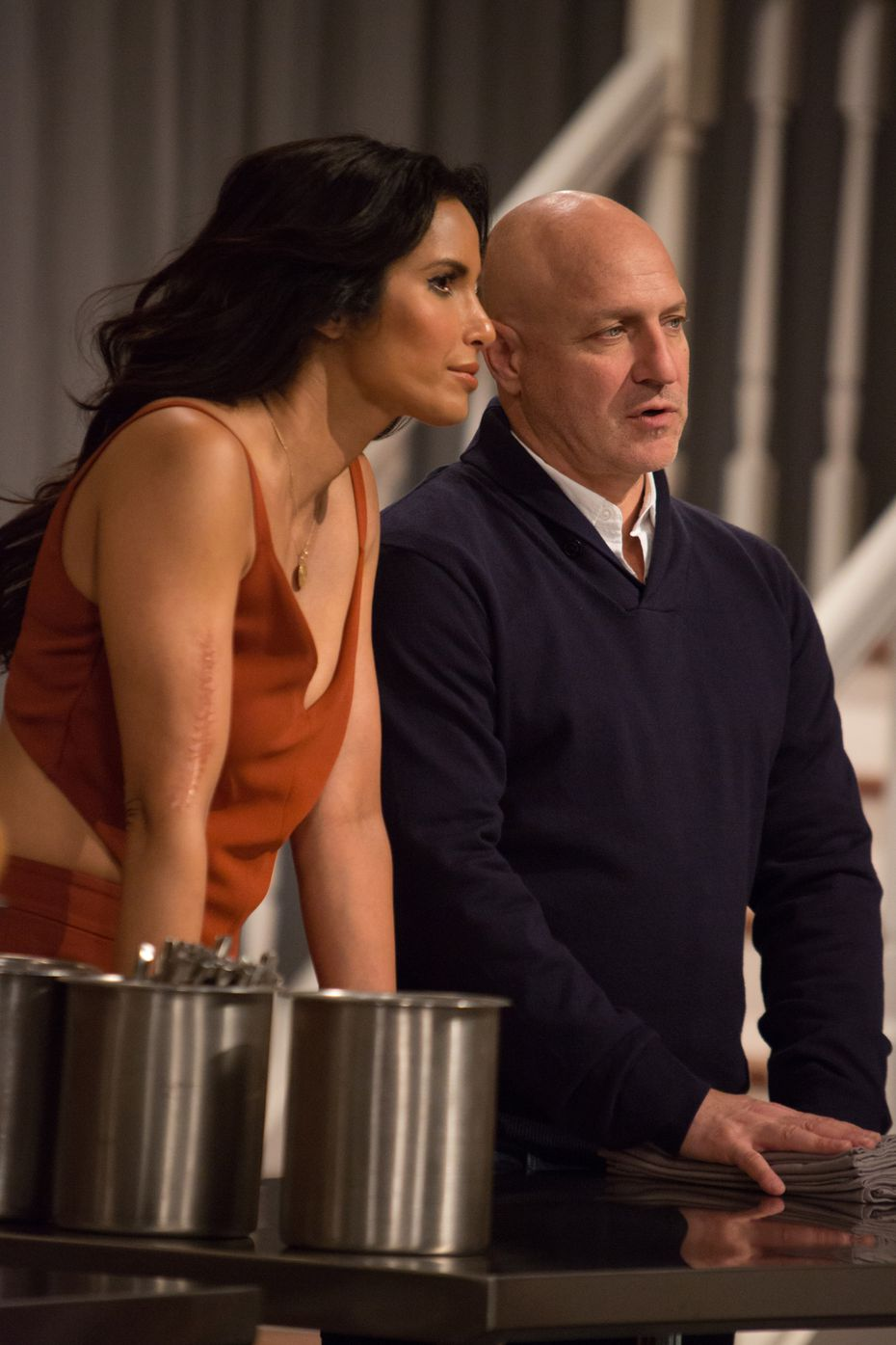 'Top Chef' host Padma Lakshmi and head judge Tom Colicchio watch as the new class of Season 14 chefs engage in their first cookoff.