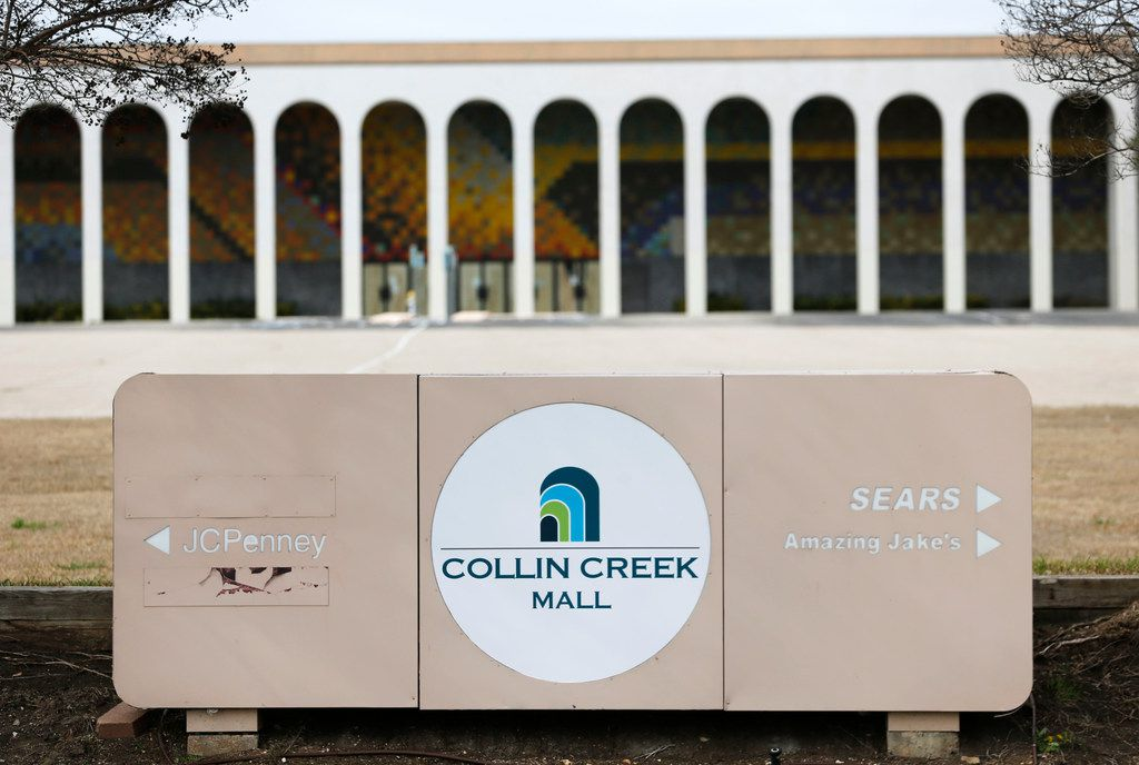 The Collin Creek Mall sign in front of what once was a Macy's department store.