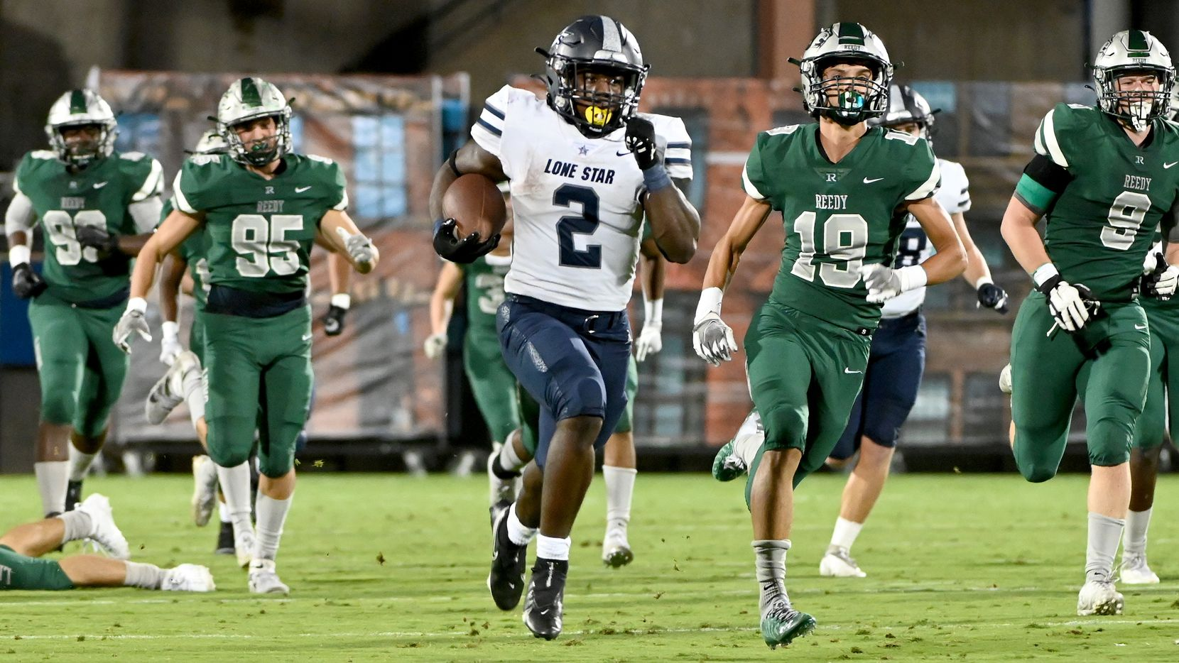Frisco Lone Star's Ashton Jeanty (2) runs for a long touchdown in the first half of a high school football game between Frisco Reedy and Frisco Lone Star, Friday, Sept. 30, 2021, in Frisco, Texas. (Matt Strasen/Special Contributor)