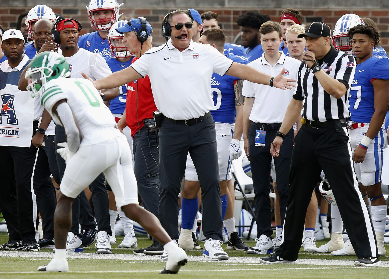 Southern Methodist Mustangs head coach Sonny Dykes questions a no call during the first half as SMU hosted UNT at Ford Stadium in Dallas on Saturday, September 11, 2021. (Stewart F. House/Special Contributor)