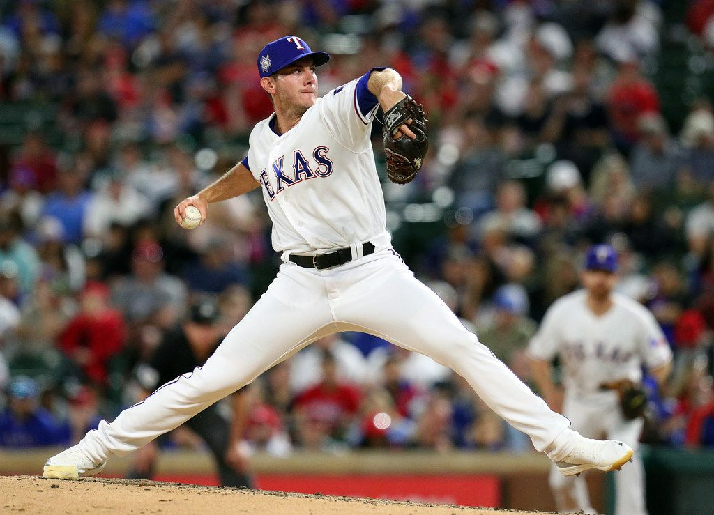 ARLINGTON, TEXAS - APRIL 15: Kyle Dowdy #43 of the Texas Rangers pitches in the fifth inning against the Los Angeles Angels at Globe Life Park in Arlington on April 15, 2019 in Arlington, Texas. All players are wearing the number 42 in honor of Jackie Robinson Day. (Photo by Richard Rodriguez/Getty Images)