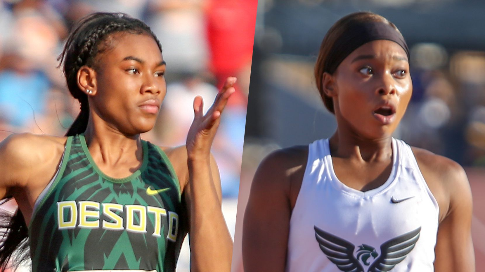 DeSoto's Amelliah Birdow (left) and Kennedale's Brianna Brand.