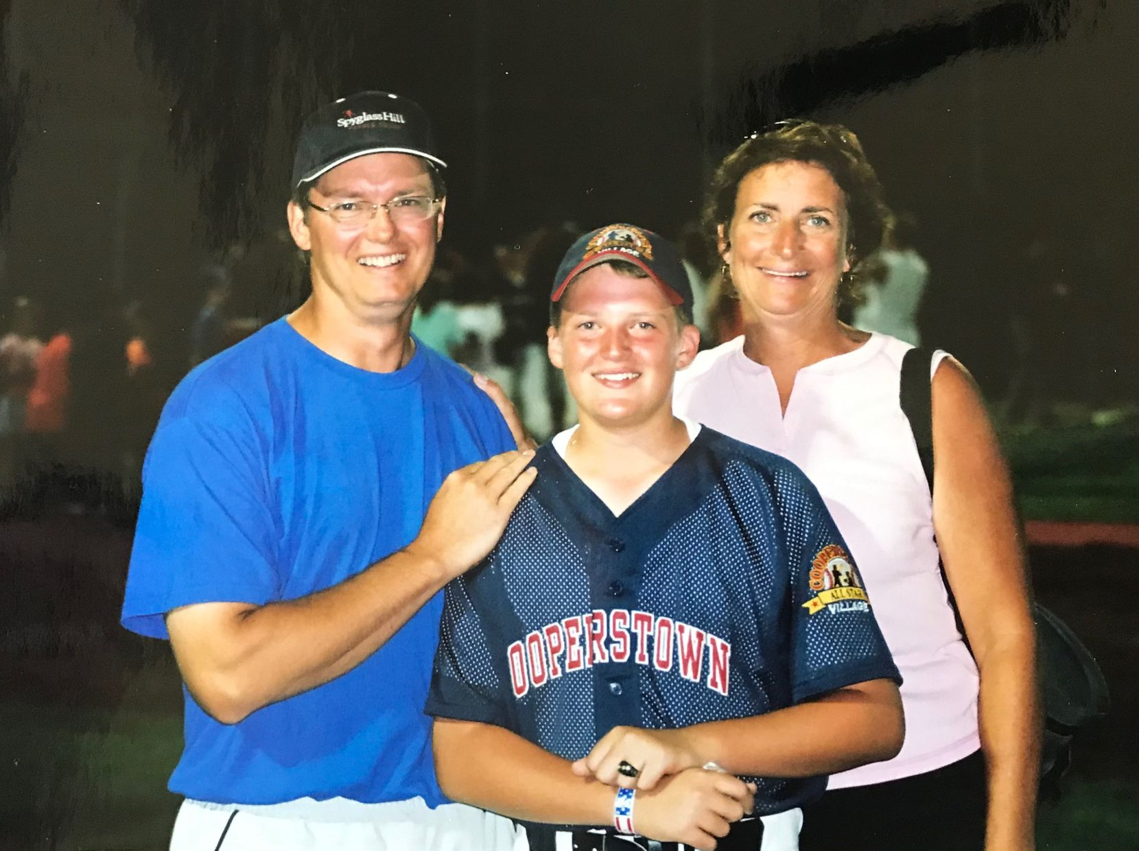 Texas Rangers pitcher Wes Benjamin is flanked by parents Scott and Jan (Courtesy/Benjamin family)