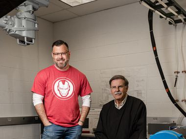 Brad Hunstable (left) and his father, Fred Hunstable, co-founded Linear Labs. They plan to license their motor system to major auto manufacturers and other companies.