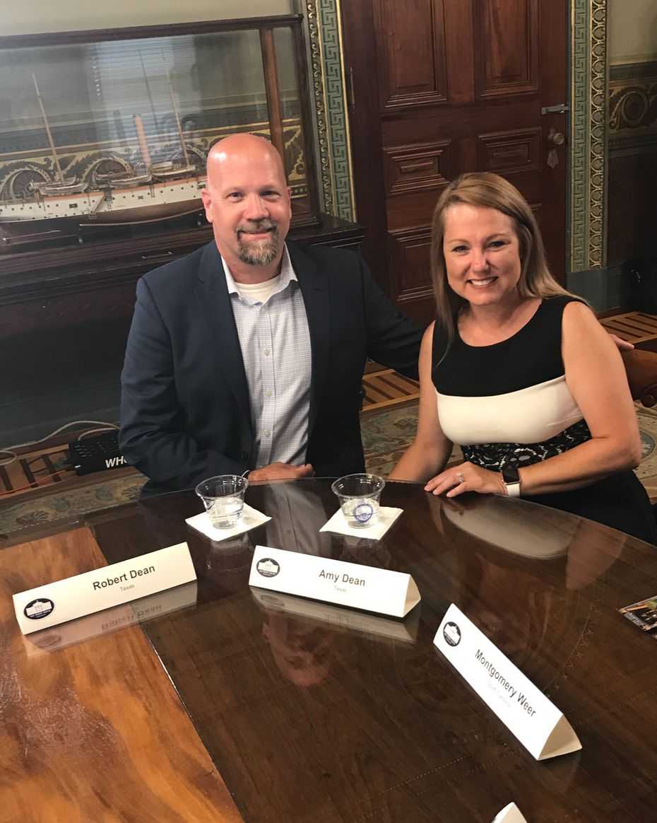 Robert and Amy Dean of Fort Worth were among several families to meet with Vice President Mike Pence at the White House on June 26, 2017, to discuss health care.
