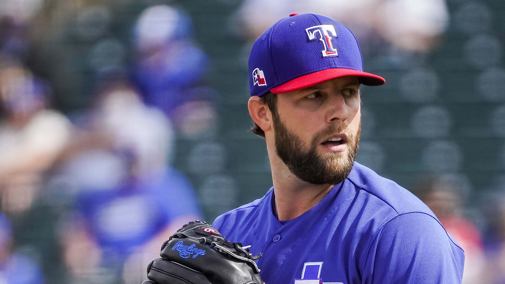 Texas Rangers pitcher Jordan Lyles delivers during the third inning of a spring training game against the Los Angeles Dodgers at Surprise Stadium on Sunday, March 7, 2021, in Surprise, Ariz. (Smiley N. Pool/The Dallas Morning News)