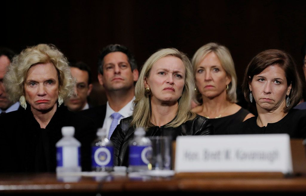 Joel Kaplan (just left of center), Facebook's vice president for global public policy, sits behind family members of Judge Brett Kavanaugh. His appearance at the Senate confirmation hearings to support his friend touched off a firestorm of criticism within the social media giant.