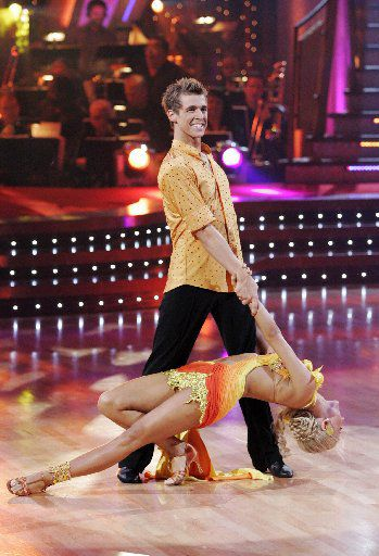 """Cody Linley and his partner Julianne Hough compete during the semi-finals of """"Dancing with the Stars""""  in 2008, in Los Angeles. (AP Photo/ABC, Kelsey McNeal)"""