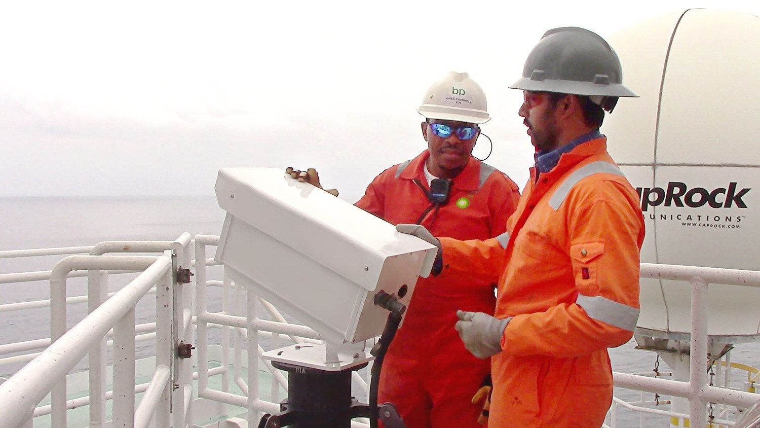BP operators use the VISR flare monitor camera to inspect flare stacks at an offshore facility.