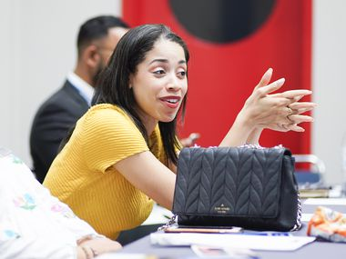 Houston City Council member Amanda Edwards talks during a roundtable discussion about how Muslims can build civic health and become a more resilient community while challenging radicalized anti-Muslim bigotry on Aug. 31 in Houston.