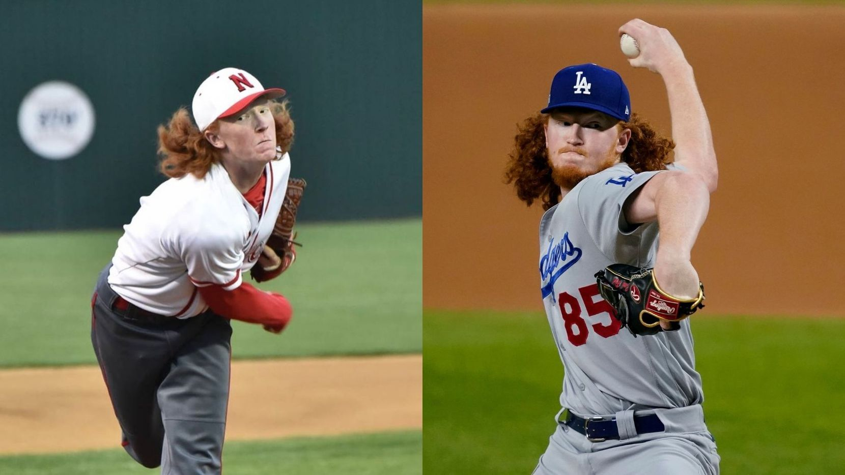 Dustin May pitching in high school (left) and Dustin May pitching for the Dodgers (right). (Photo credit: Suzanne May, left; AP Photo/Tony Gutierrez, right)