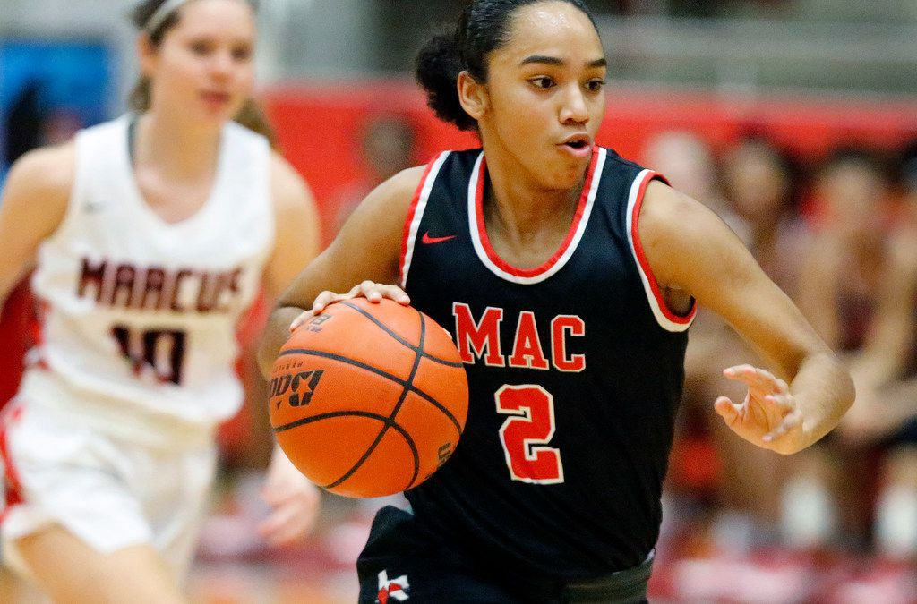 Irving MacArthur High School guard Jordyn Newsome (2) brings the ball down the court on a fast break during the first half as Flower Mound Marcus High School hosted Irving MacArthur High School in a girls basketball game in Flower Mound on Tuesday, January 14, 2020. (Stewart F. House/Special Contributor)