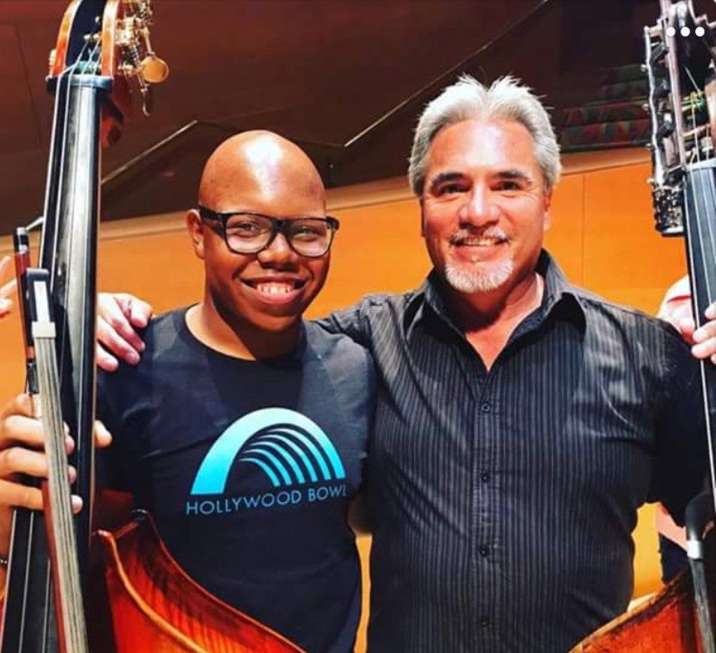 Draylen Mason, the 17-year-old killed in the second bombing in Austin this week, applied to attend University of North Texas in the double bass violin program. He is pictured with Oscar Meza, assistant principal bassist of the Los Angeles Philharmonic.