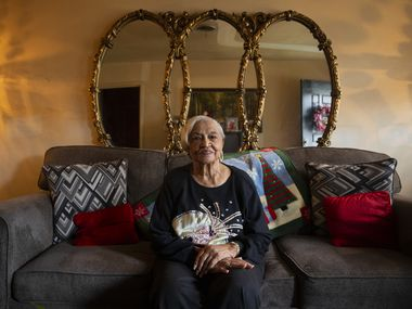 "Marion Washington, 92, is one of the original homeowners in Hamilton Park in northeast Dallas. ""They weren't brick homes, but Hamilton Park was the first nice place they built for blacks.  It was a great place then and it's been like that all these years."""