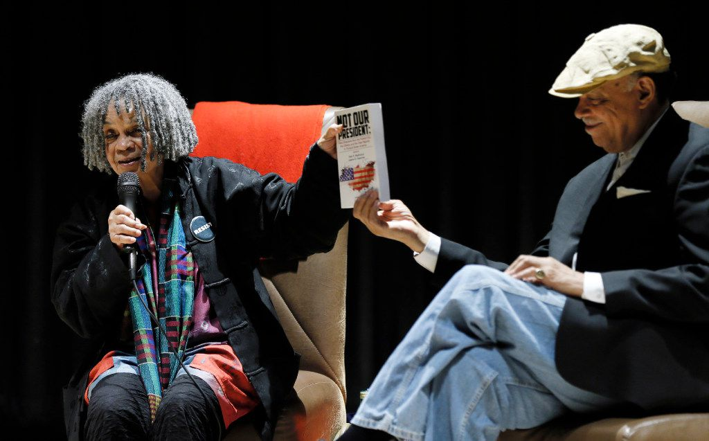 Authors and poets Sonia Sanchez, left, and Haki Madhubuti participate in a panel discussion on African American studies at the Tulisoma South Dallas Book Fair at the African American Museum in Dallas in 2017.