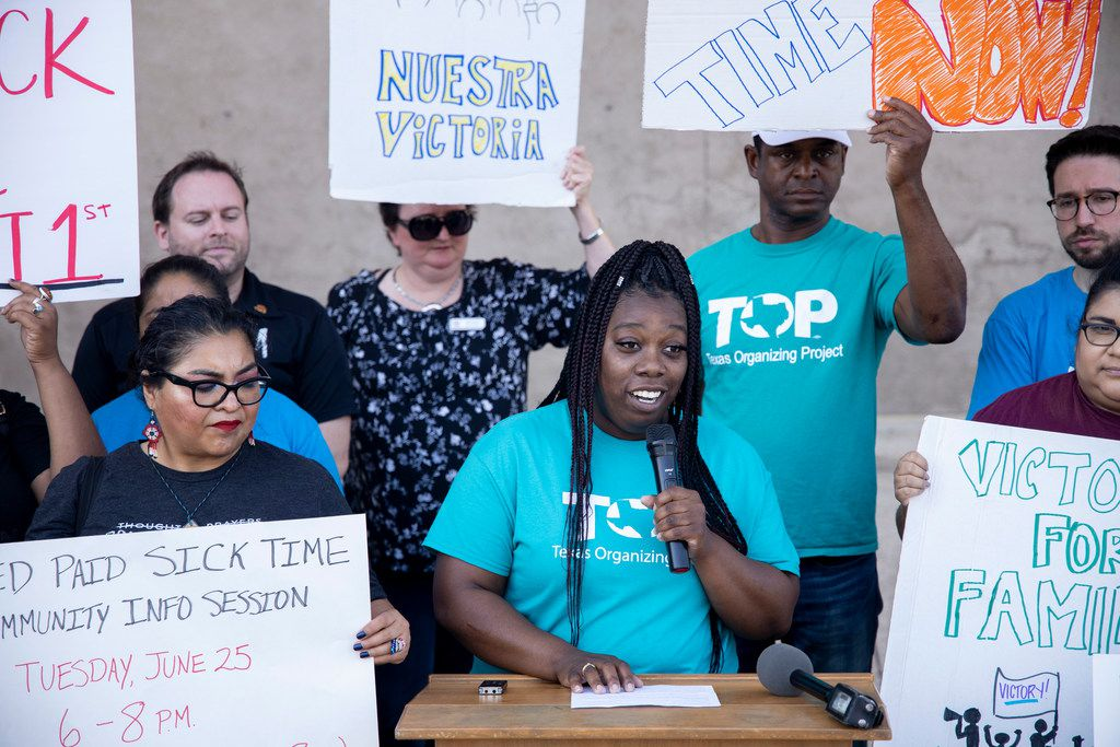 Community organizer Tempest McHenry gave remarks during a news conference outside Dallas City Hall to draw attention to the city's new ordinance requiring all employers withing Dallas to provide paid sick time to their workers.