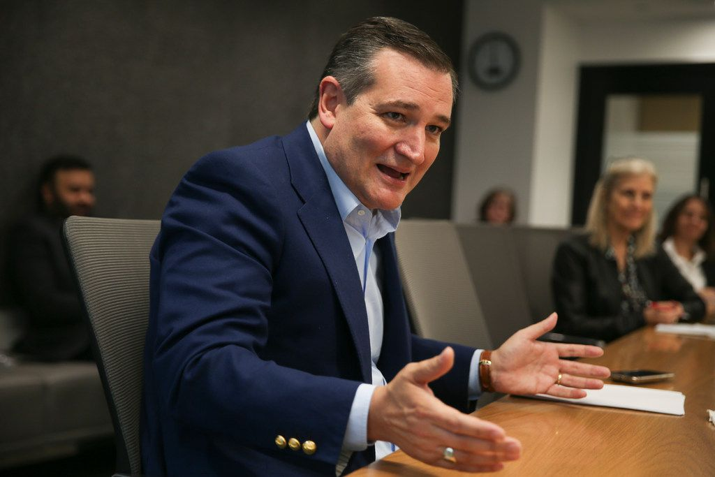 U.S. Sen. Ted Cruz, running against U.S. Rep. Beto O'Rourke in the Texas U.S. Senate race, talks with The Dallas Morning News' editorial board on Oct. 18, 2018 in Dallas.