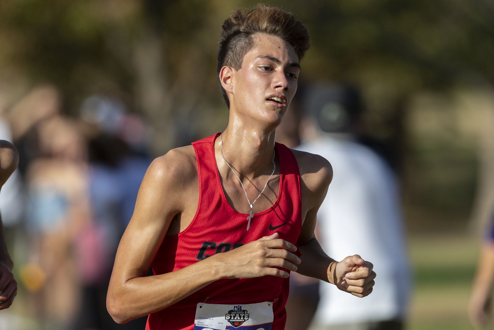 Coppell's Evan Caswell (2370) finishes eighth in the boys UIL Class 6A state cross country meet in Round Rock, Tuesday, Nov., 24, 2020. (Stephen Spillman/Special Contributor)
