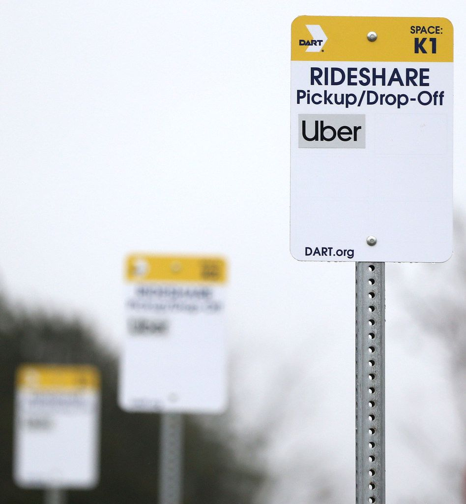 Dallas Area Rapid Transit has put up ride-share signs at the UNT Dallas Station in Dallas for a new service that offers free and discounted Uber rides in some parts of the Dallas area. DART will subsidize the Uber rides to make it easier for customers to travel the first and last mile of trips.