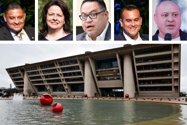 (De izq. a der.) Jaime Reséndez, Paula Blackmon, Omar Narváez, Adam Bazaldúa y Adam Medrano, la representación hispana en el Concejo de Dallas. (AL DÍA/FOTO ILUSTRACIÓN)