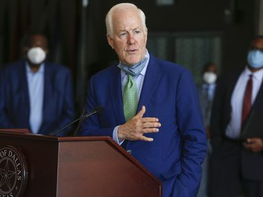 U.S. Senator John Cornyn, R-Texas, addresses members of the media following a law enforcement roundtable on Friday, June 12, 2020 at City Hall in Dallas.