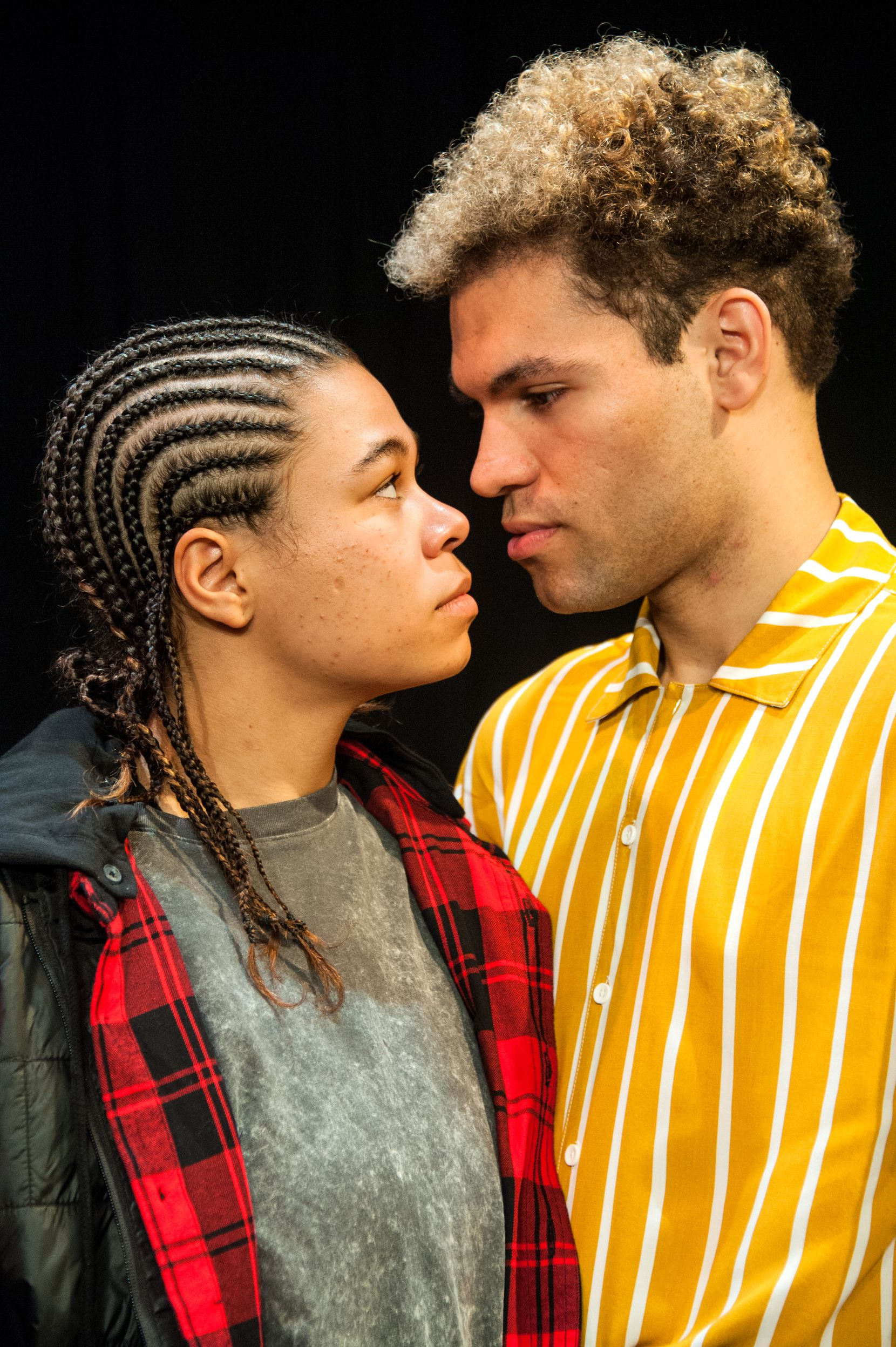 """J Davis-Jones, left, and Dominic Pecikonis star as homeless teenagers who meet at a Los Angeles LGBTQ shelter in Cara Mia Theatre Co.'s production of Detroit playwright Emilio Rodriguez's """"Swimming While Drowning."""""""